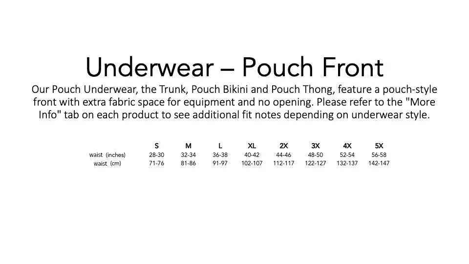 Play Out Underwear Sizing Chart for Pouch Trunks, Bikinis, and Thongs.