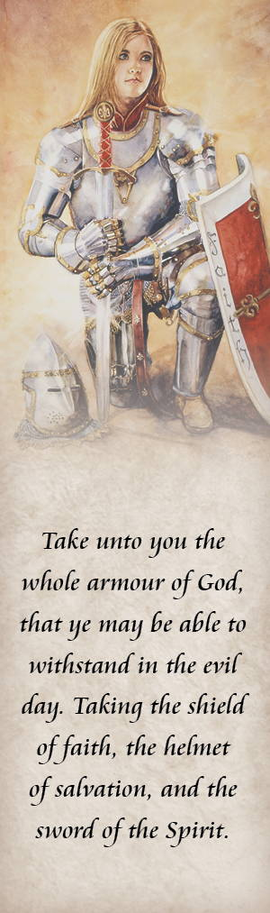 LDS art bookmark showing image of a young woman wearing armor and quoting the armor of God scripture.