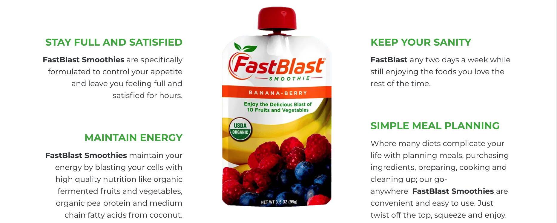 infographic of fast blast smoothie benefits
