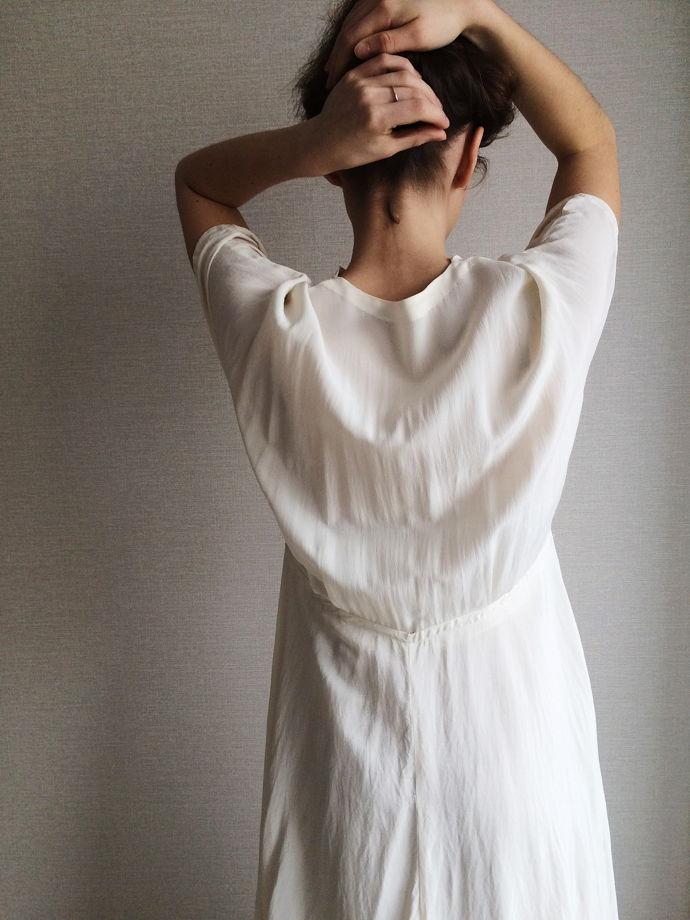 Винтажное платье 1930-40е . Платье из крепдешина цвета слоновой кости. Размер S