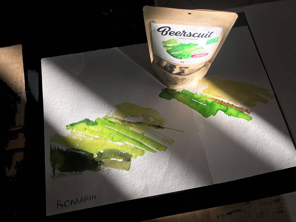 aquarelle verte et sachet biscuit apéro recyclé