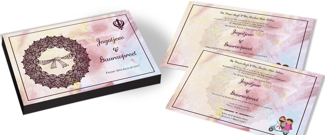 Designer Invitation card for Sikh Marriage