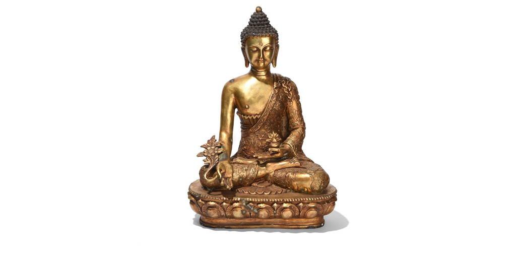 Gilt Bronze Statue Of Buddha - Varada Mudra Pose | Indigo Antiques