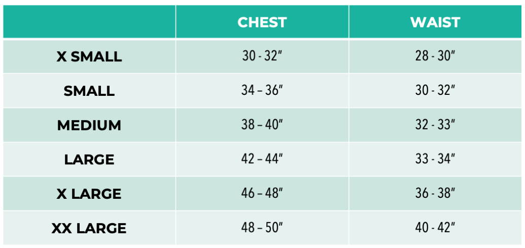 Pet It Forward 3/4 sleeve sizing chart