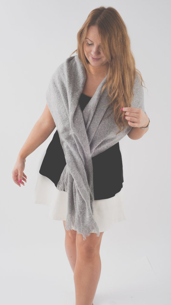Primitive Beginnings oversized grey scarf