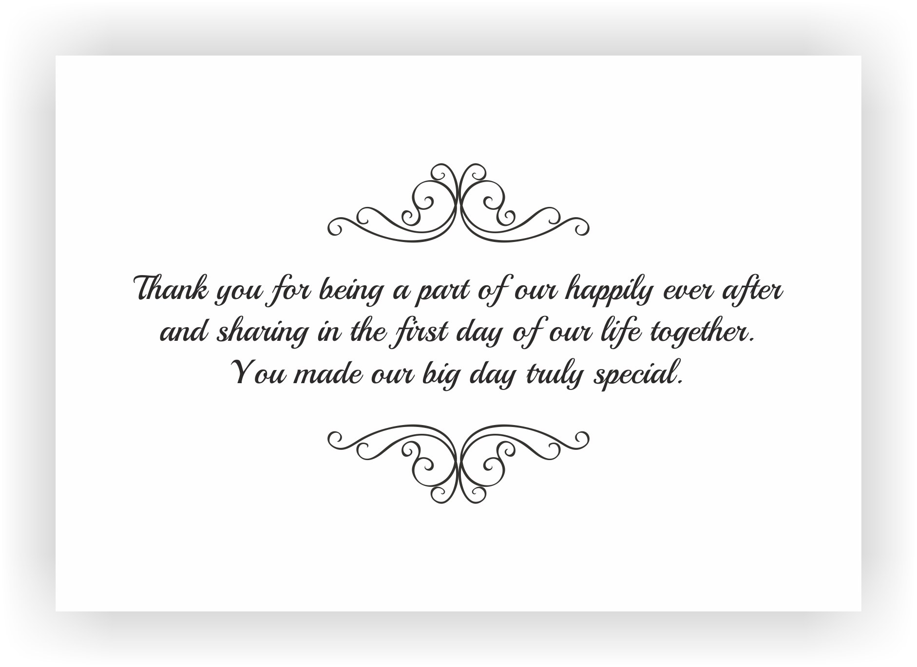 Wedding Gift List Note : Thank You Note to accompany your wedding Return GiftCHOCOCRAFT