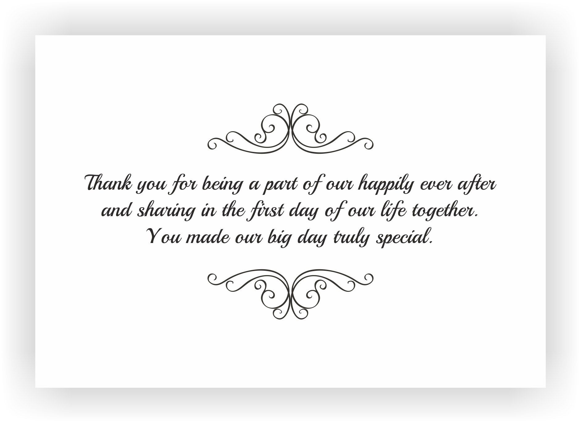Wedding Gift Card Notes : Thank You Note to accompany your wedding Return Gift CHOCOCRAFT