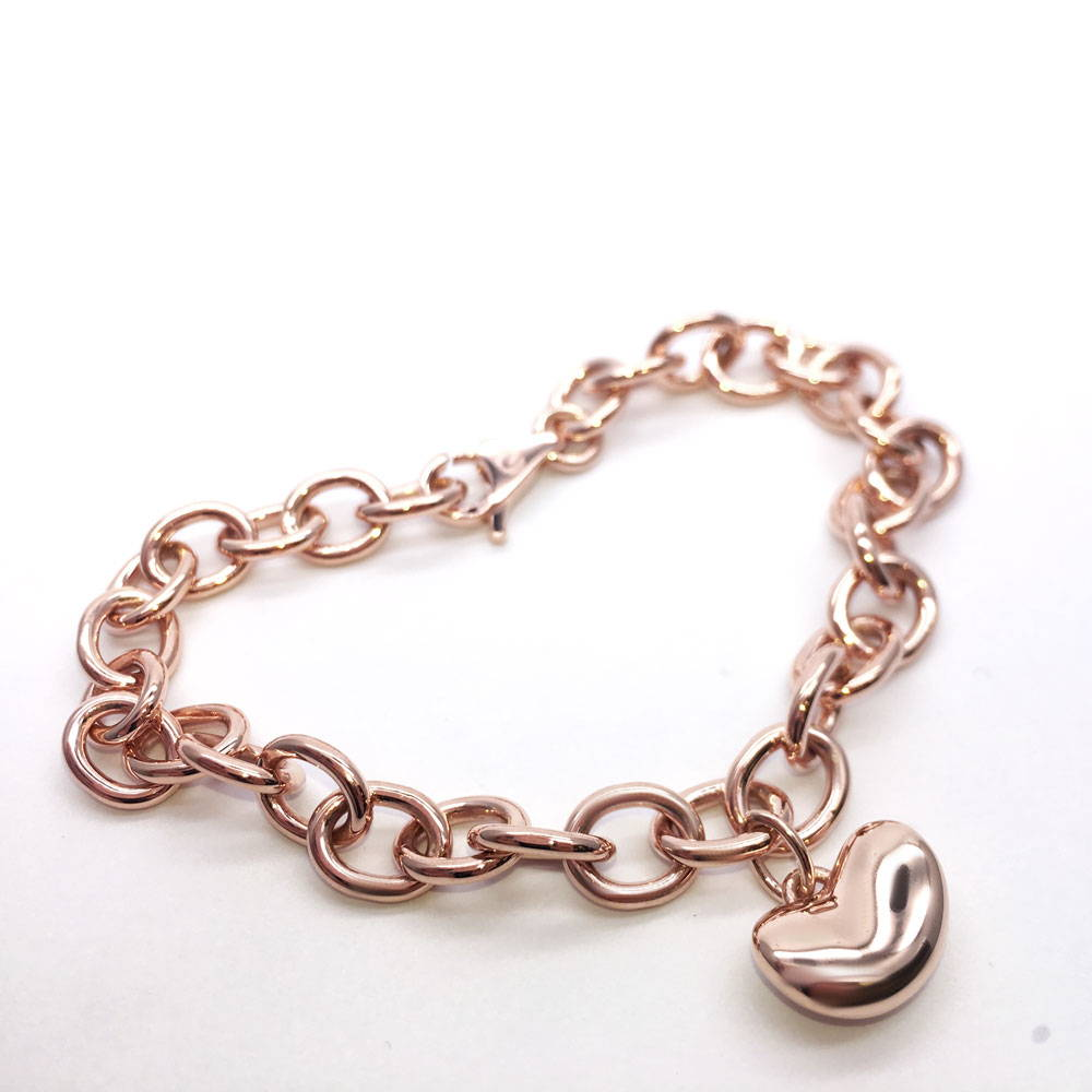 Custom handmade bracelet in pink gold bean pendant