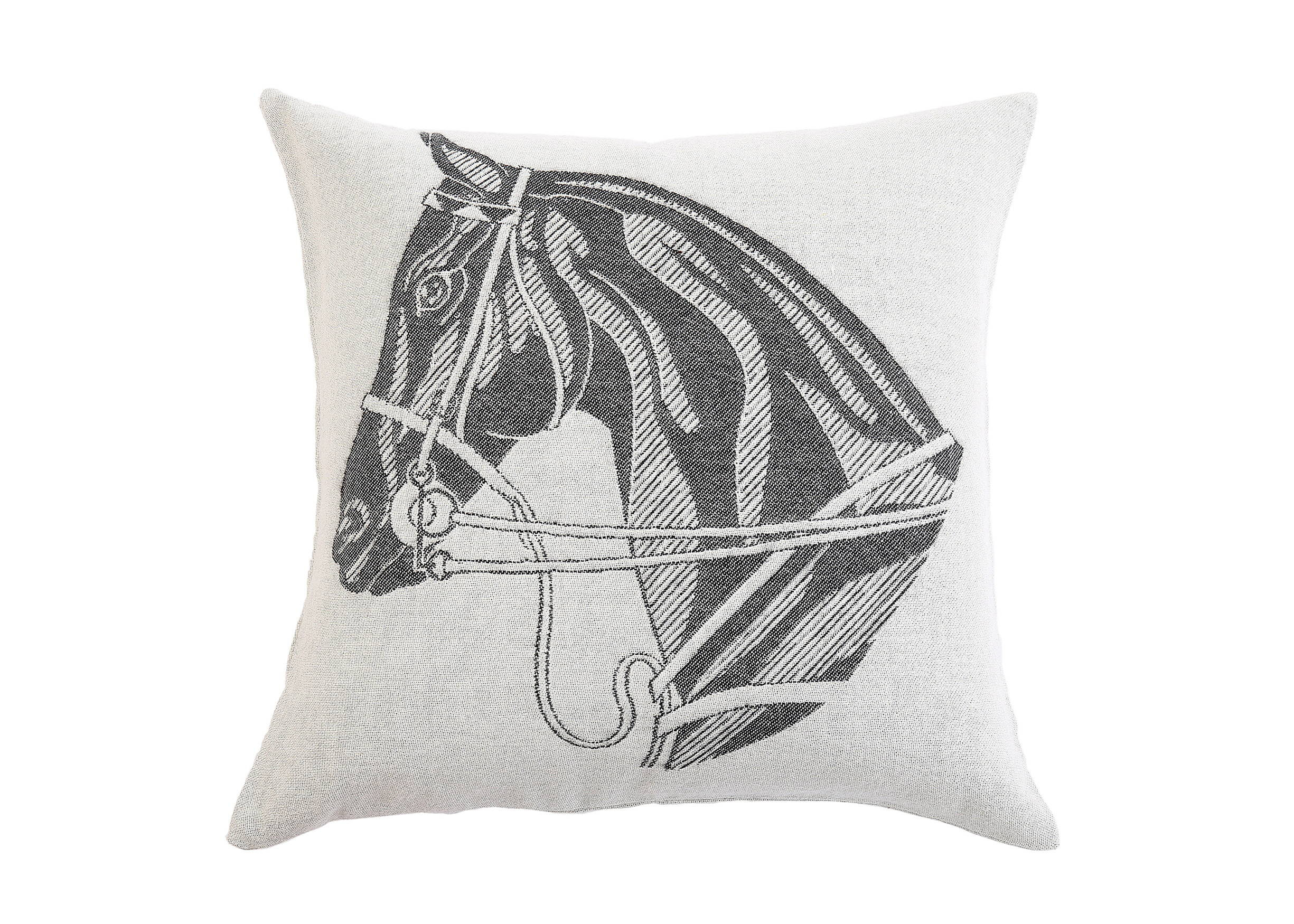Equestrian Jacquard-loomed Alpaca Horse Head Pillow in Charcoal - Stick & Ball