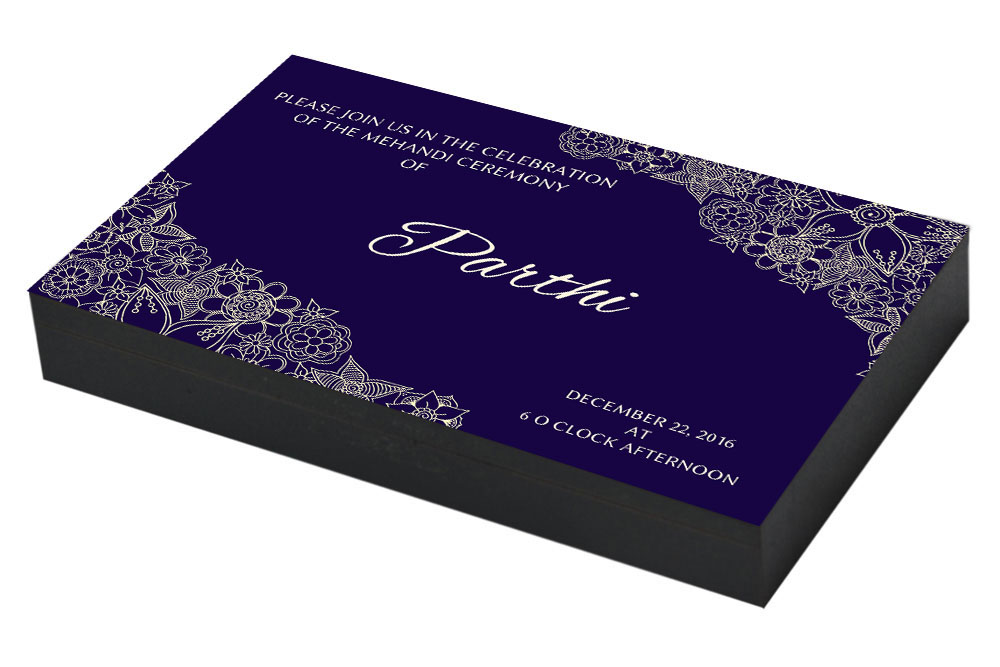 Royal Blue Invitation for Mehandi ceremnoy
