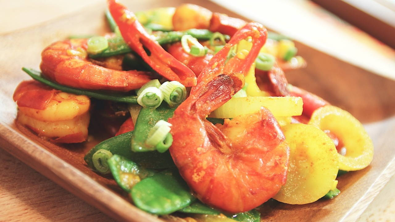 Stir-Fried Prawns with Turmeric