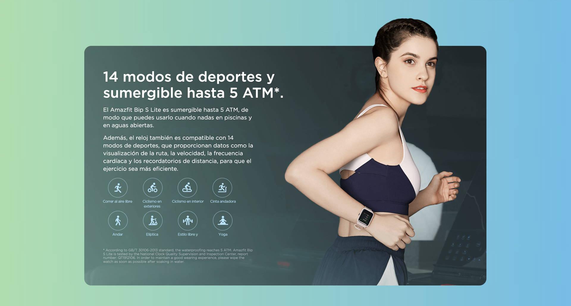 Amazfit ES - Amazfit Bip S Lite - 8 modos de deportes y sumergible hasta 5 ATM.