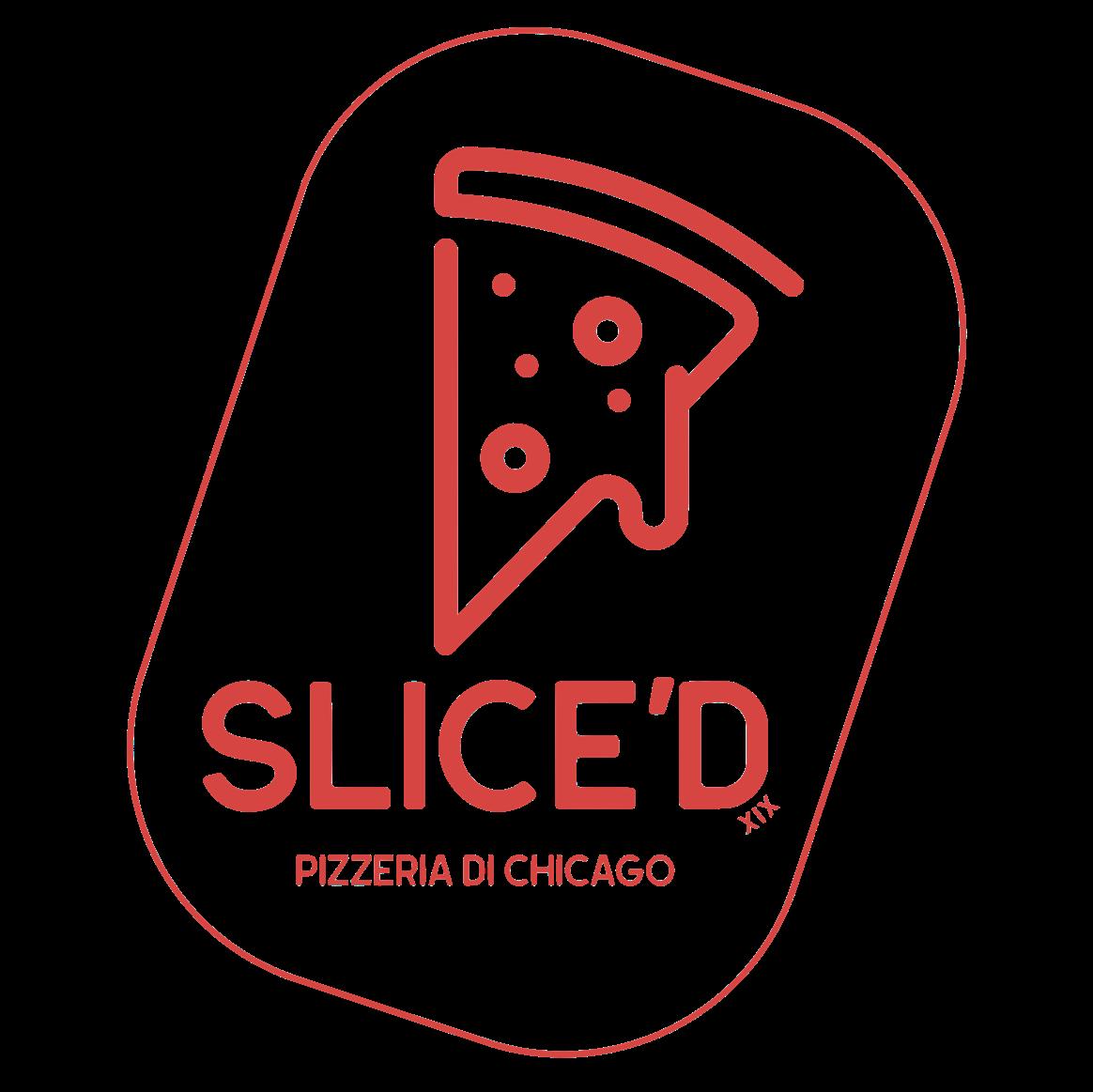 Red slice'd pizzeria logo