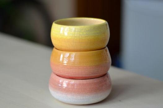 Белое, розовое, оранжевое, желтое (3 горшочка)