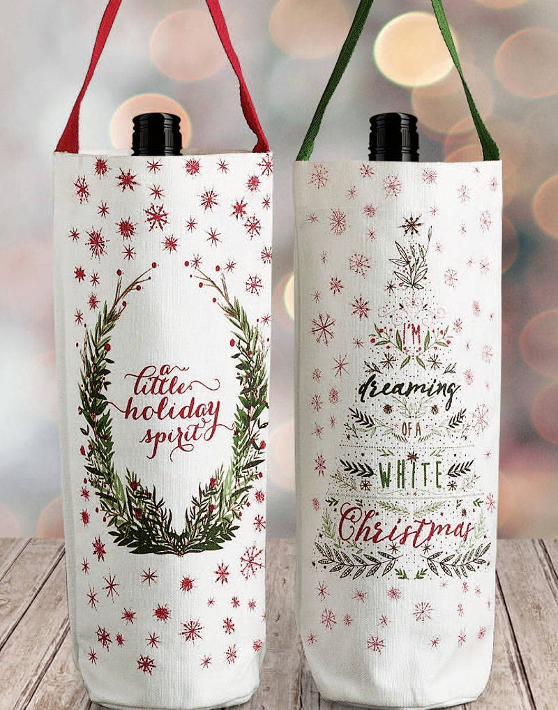 wholesale christmas wine bottle totes