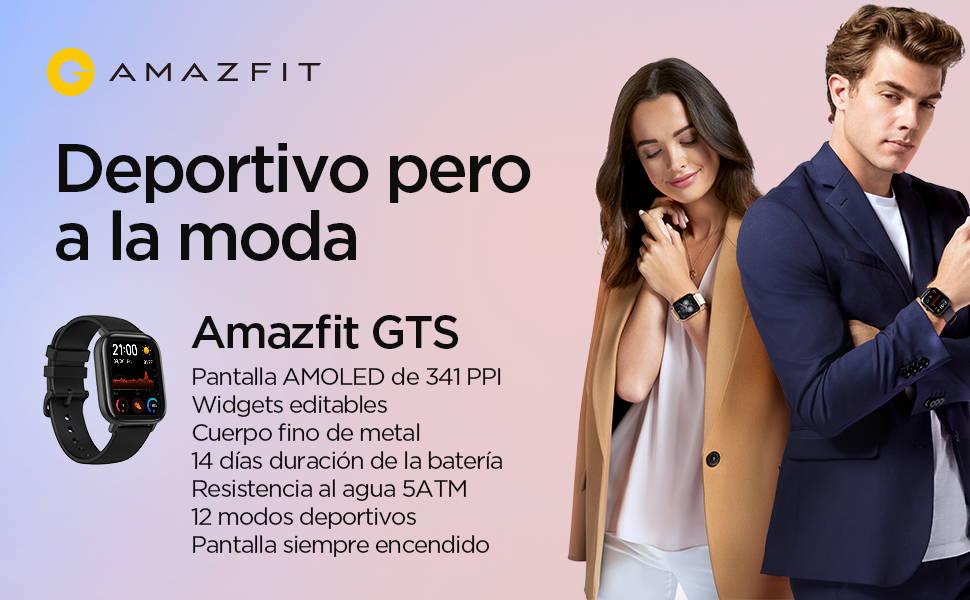 Amazfit GTS - Pantalla AMOLED de 341 PPI   Widgets Personalizables  Cuerpo Fino de Metal   14 Días de Batería  Resistencia al Agua 5 ATM   12 Modos Deportivos