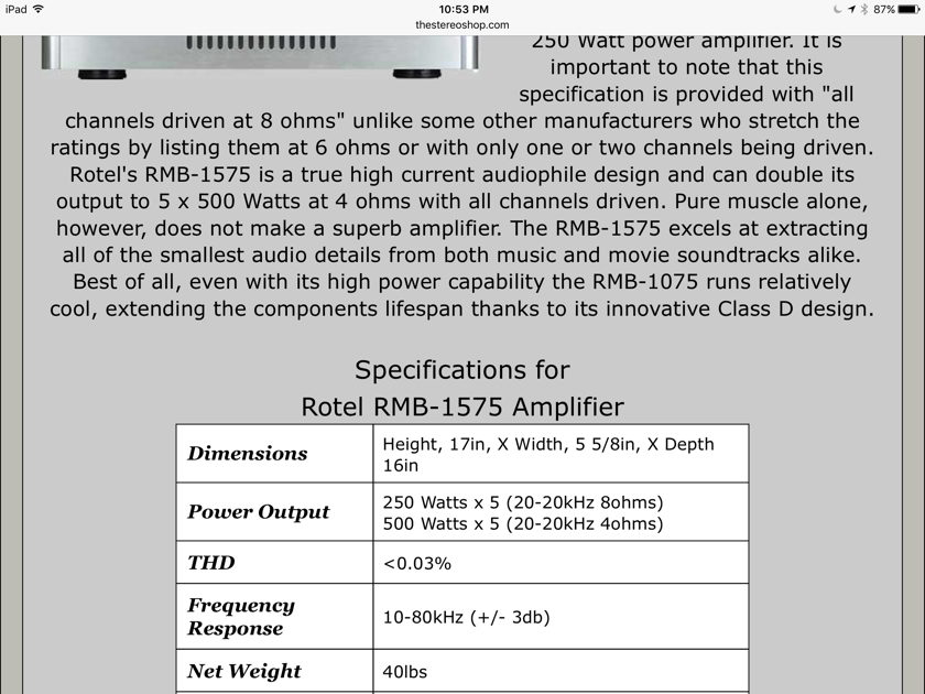 Rotel RMB-1575 FIVE CHANNEL POWER AMPLIFIER