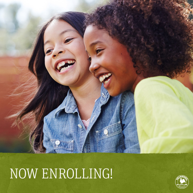 Now enrolling poster featuring two smiling young girls