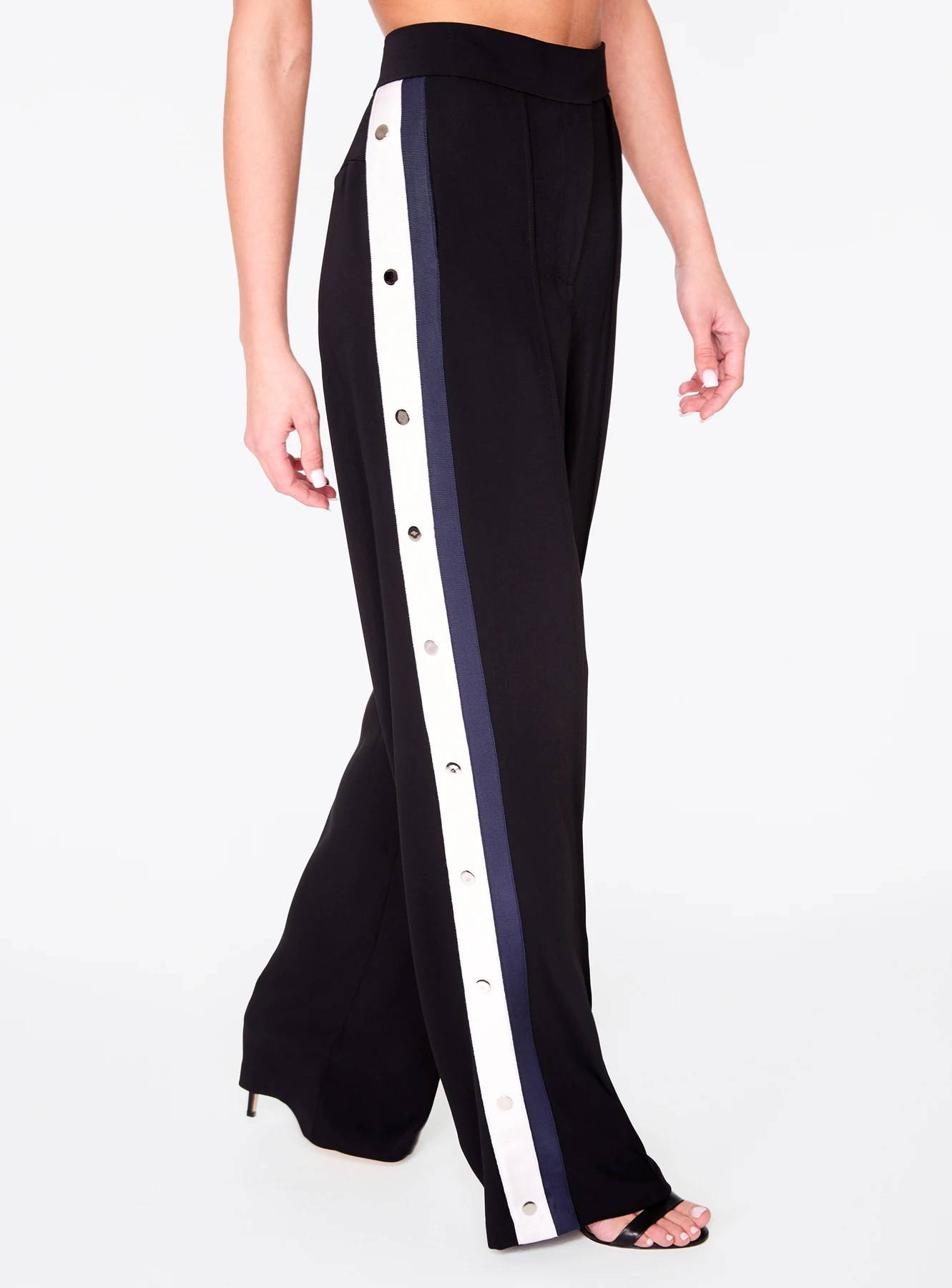Black High-Waisted Relaxed Side Snap Trouser