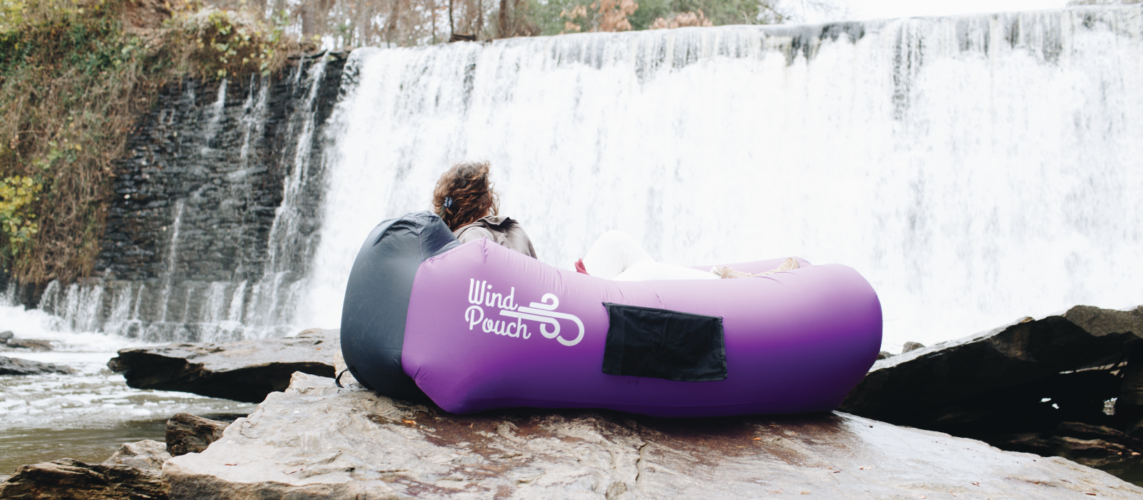 WindPouch GO Royal Purple Waterfall Inflatable Ground Hammock Blow Up Seat Air Lounger Inflatable Couch