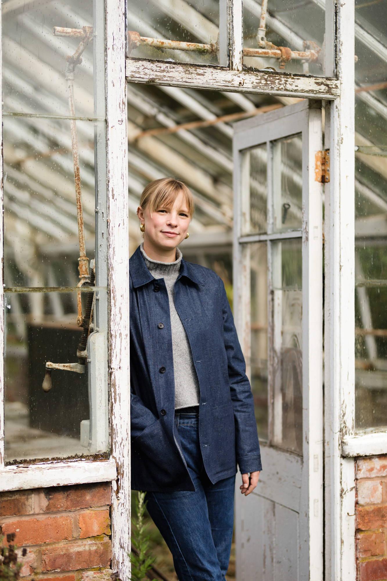 Xanthe Gladstone in a Wood & Meadow Gardener Jacket