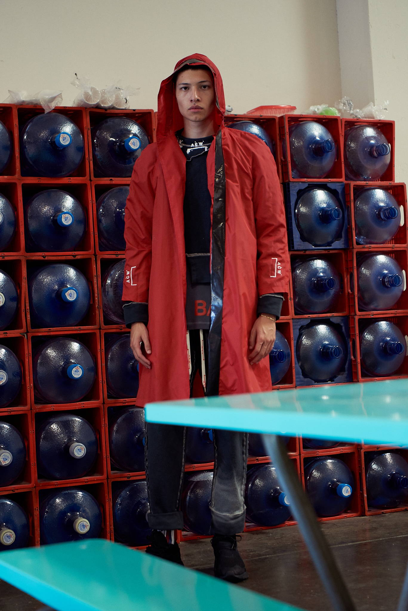 FW17 A Cold Wall-Samuel Ross-HLorenzo exclusive red nylon coat, reverse joggers