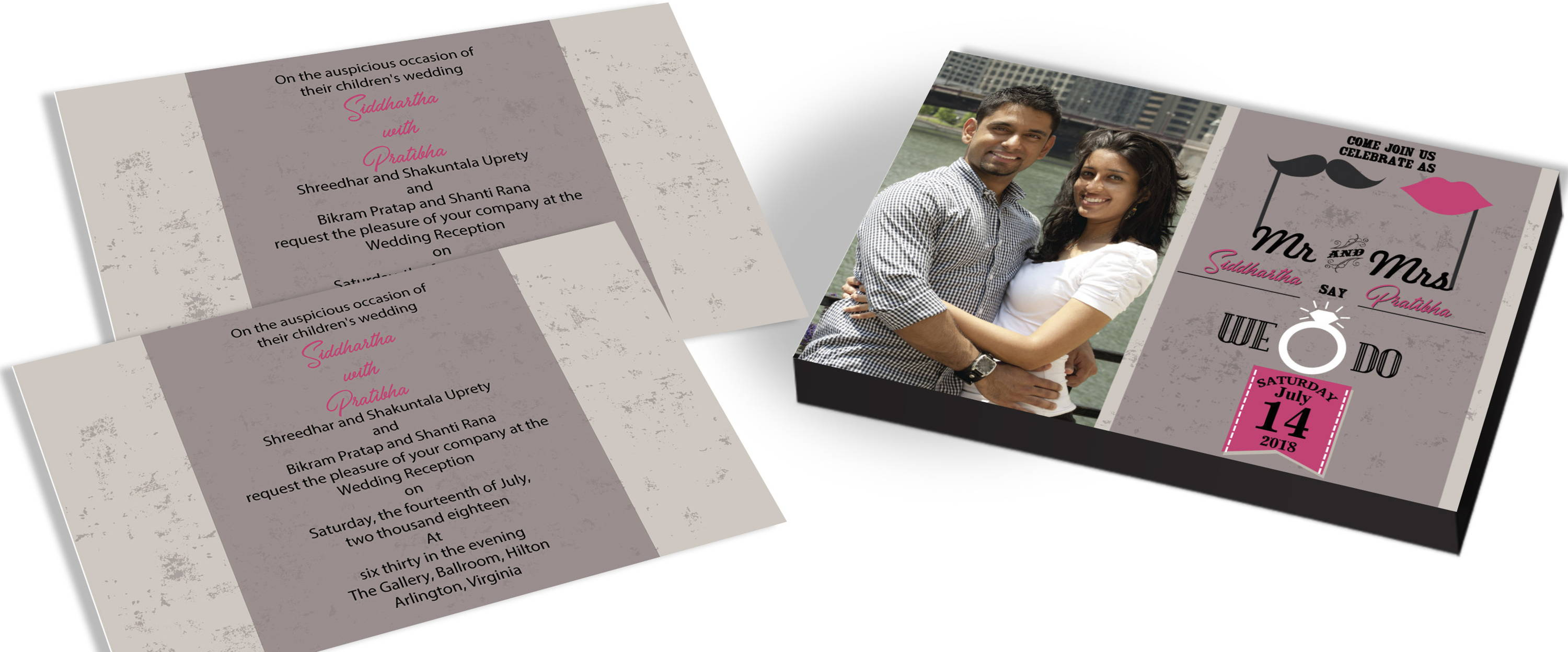 Modern Wedding Cards with Photo