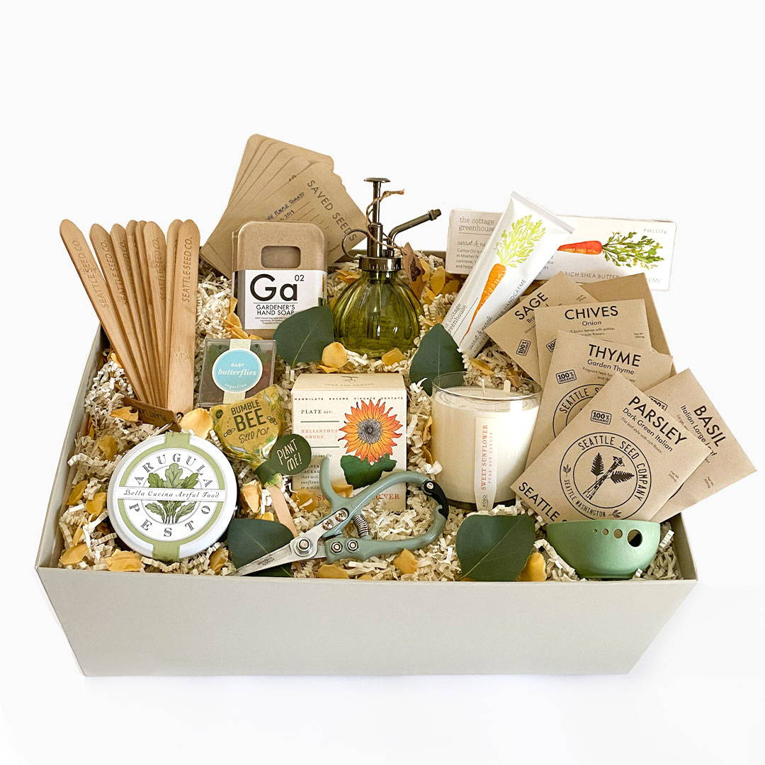 gardener's gift box, gifts for the gardener, mother's day gift boxes. mother's day gardening gift box, send a garden curated gift box, send a gift box to mom,