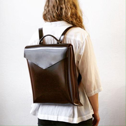 Кожаный рюкзак Envelope Gloss Marsala