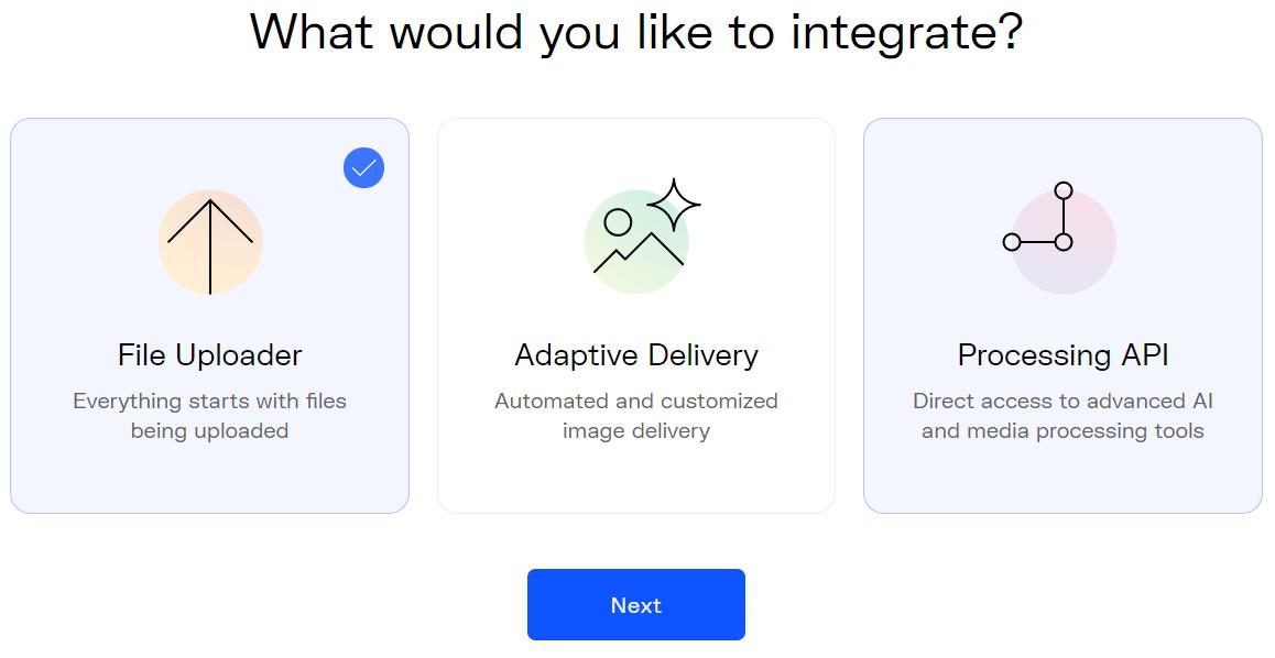 Uploadcare integration choice screen
