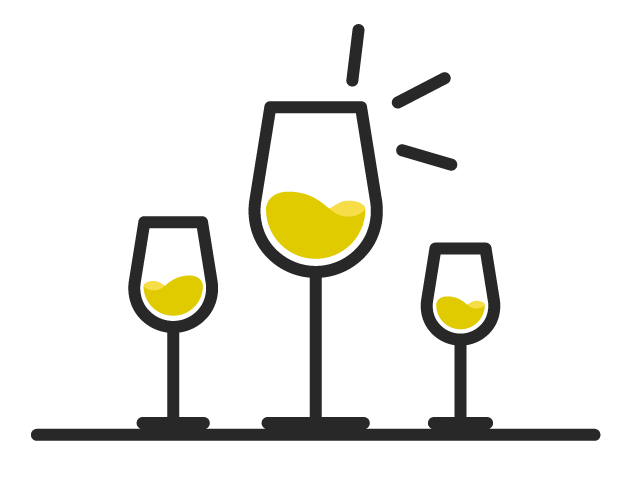 Icon of three glasses of Chardonnay wine proving that the grape does not always mean rich and buttery tastes.