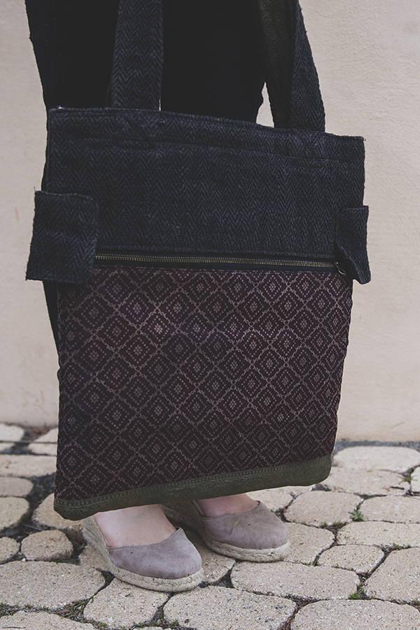 Samanatha - Sac bandoulière éthique en chanvre réversible couleur ébène