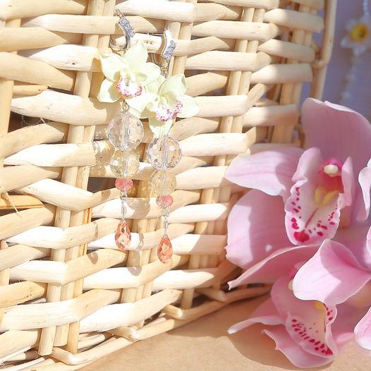 Серьги с жёлтыми орхидеями