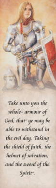 LDS art bookmark featuring a painting of a young woman in knight's armor by Judy Cooley. Text quotes from Ephesians 16.