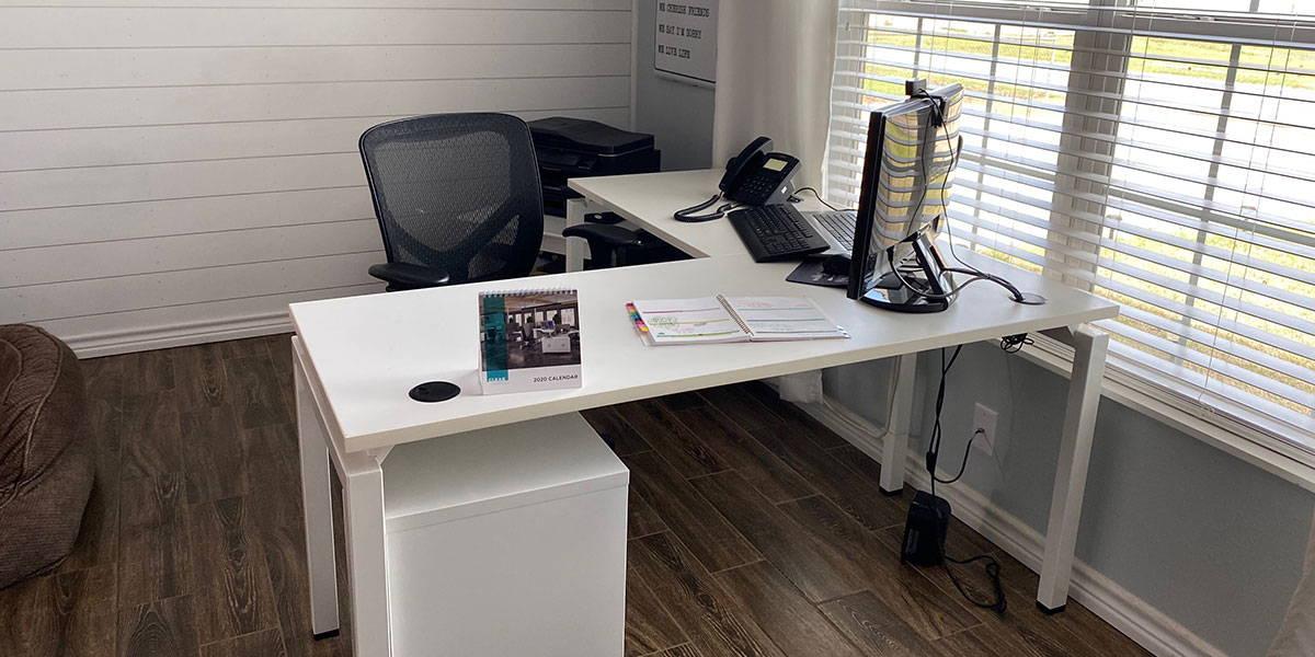 Home Office L-Shape Desk in all white