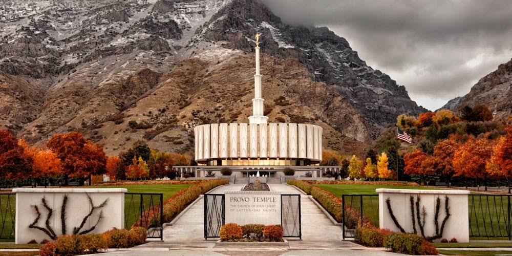 Panoramic photo of the Provo Utah LDS Temple entrance during autumn.