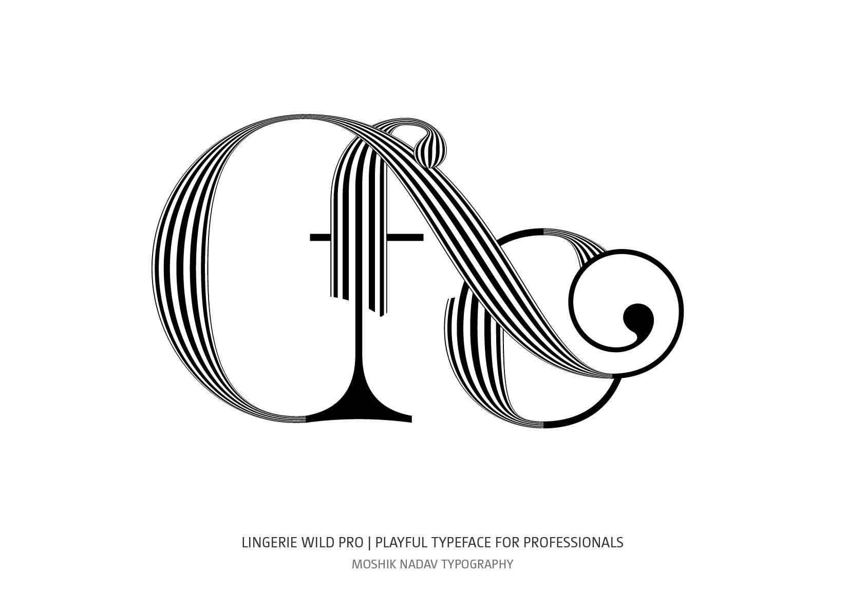 Lingerie Wild Pro typeface fo ligature by Moshik Nadav Fashion Typography NYC