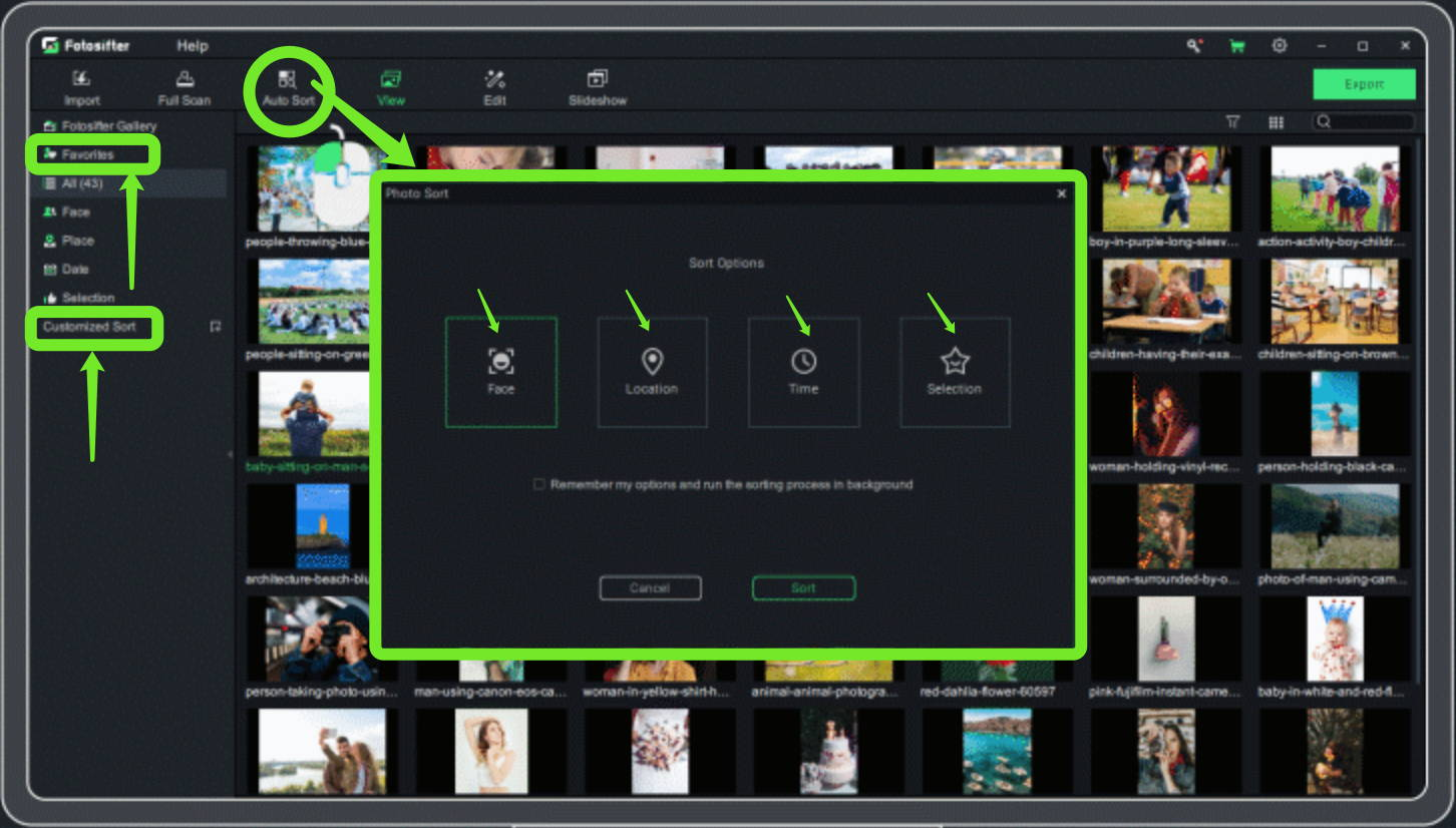 customized sorting feature of Fotosifter
