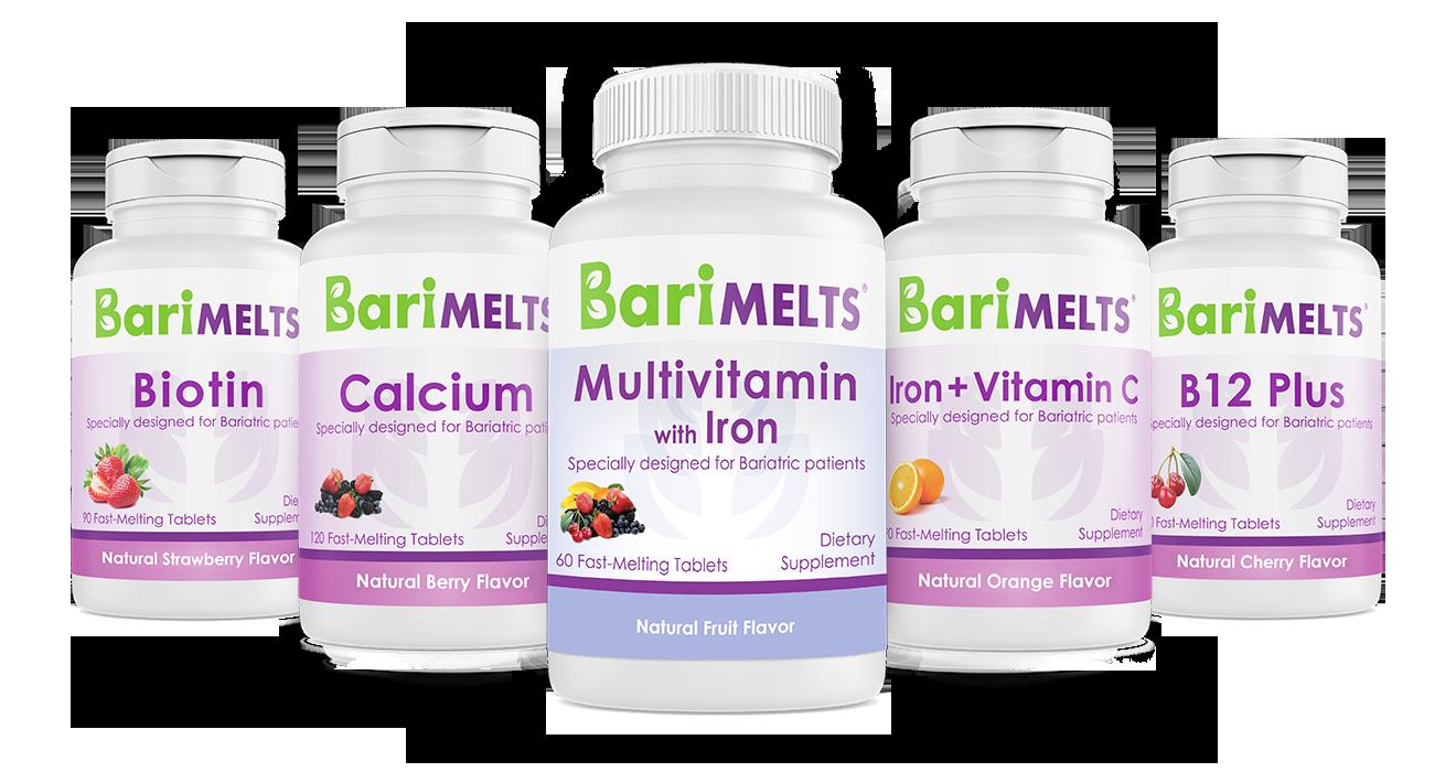 Barimelts bundle biotin, calcium, multivitamin, iron with vitamin c, B12 plus