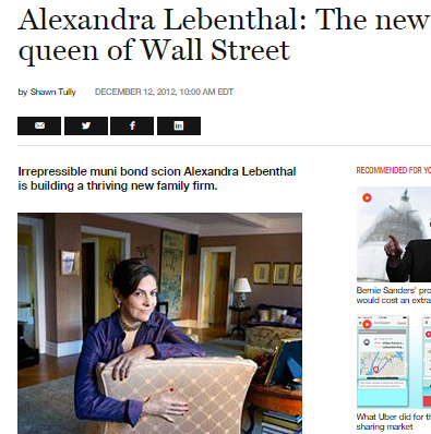 Alexandra Lebenthal [seen here in a 2012 Fortune magazine article]: A huge passion of mine is to bring on more female advisors.