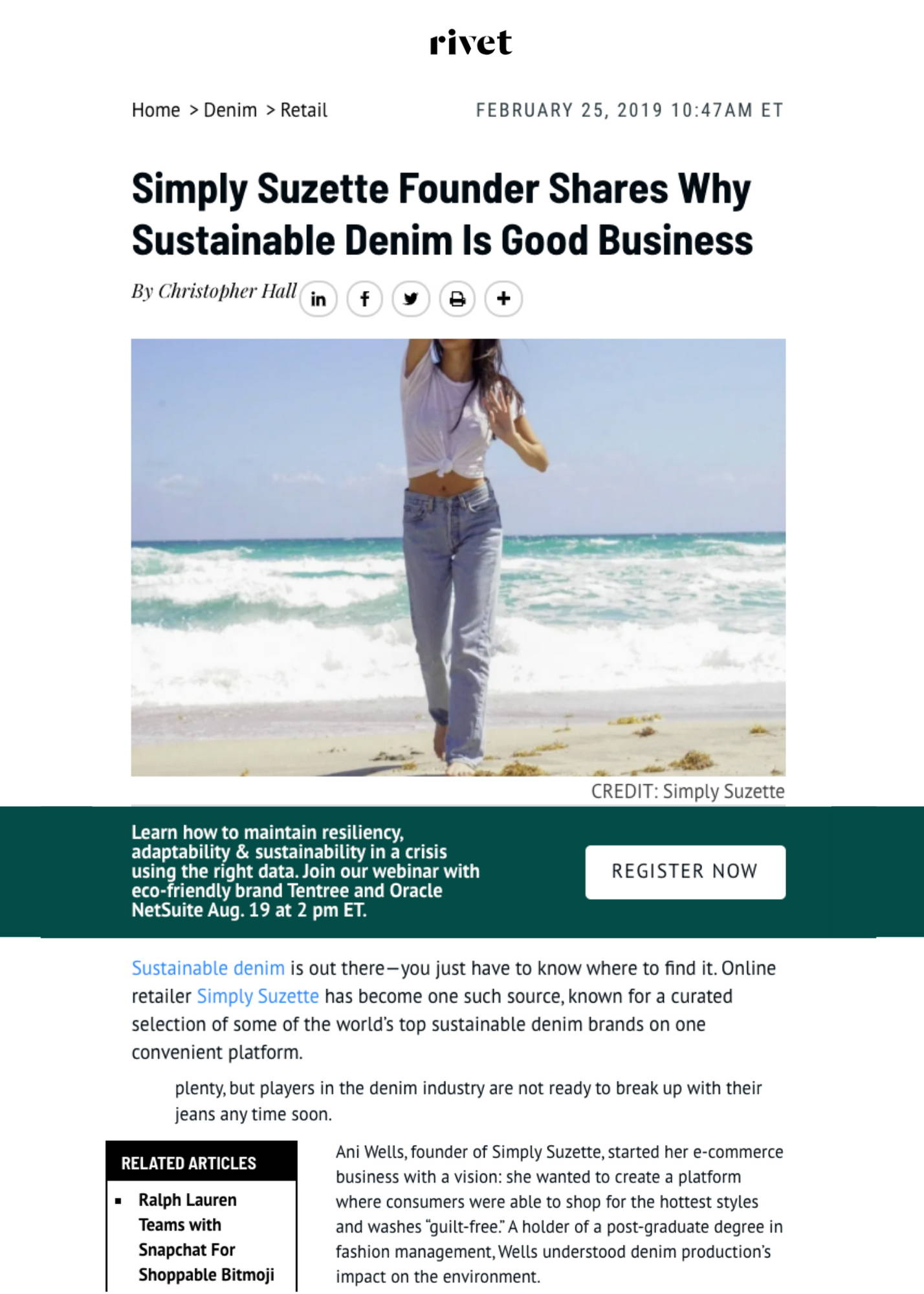 Simply Suzette Founder Shares Why Sustainable Denim Is Good Business Article