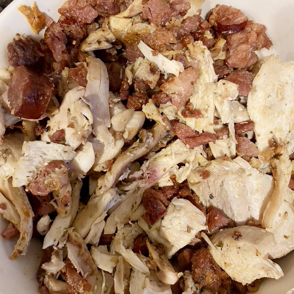 cooked turkey and andouille sausage