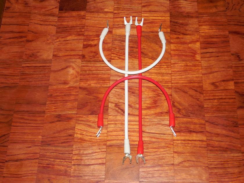 """Silver Bi-Wire Speaker Jumper Cables 8AWG 10"""" Set sliver spades, Bananas Spades/Bananas/combo"""