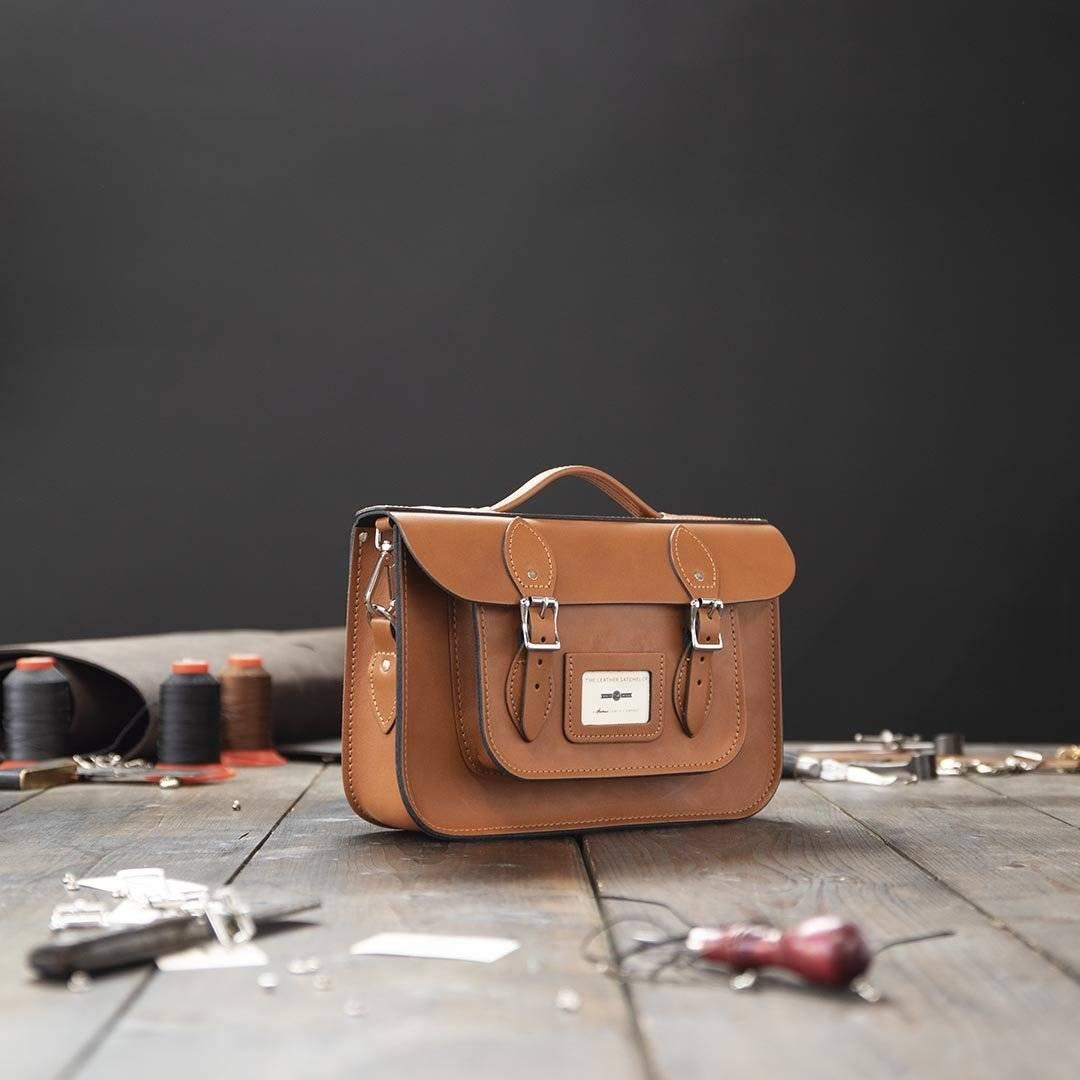 Tan 12.5 inch Leather Work Bag