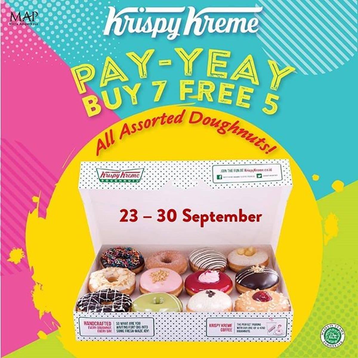 Katalog Promo: Krispy Kreme: PROMO PAY-YEAY Beli 7 FREE 5 ALL ASSORTED DOUGHNUT! - 1