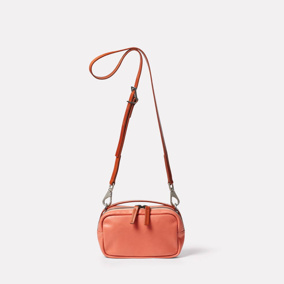 Limited Edition Leila Small Leather Crossbody Bag in Coral