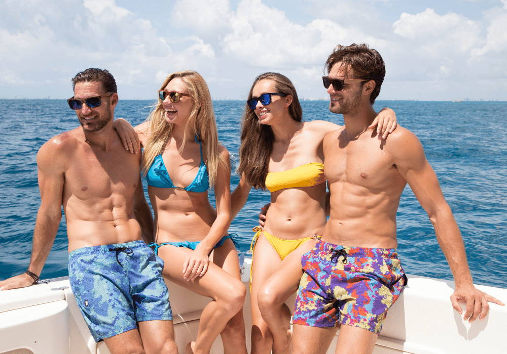 top board shorts and performance shirts for water