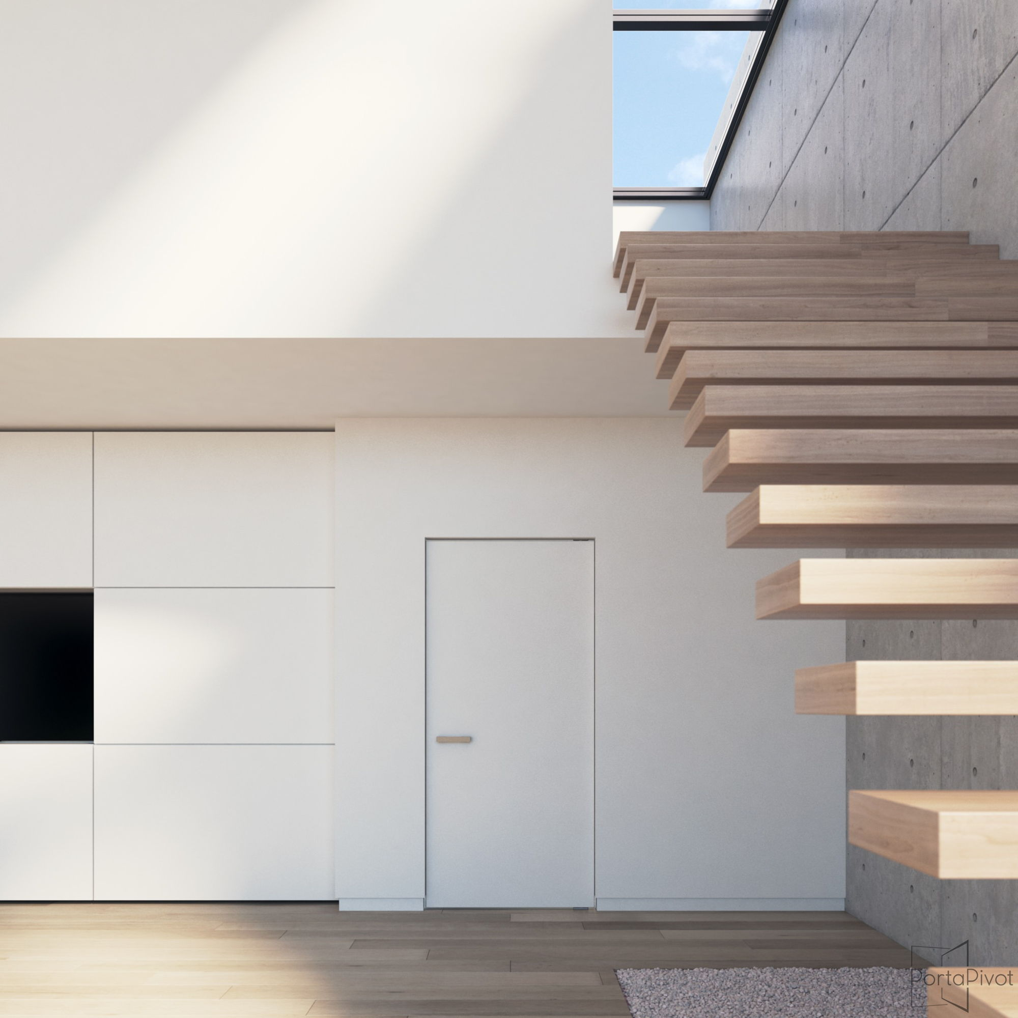 pivot door with invisible pivoting hinge