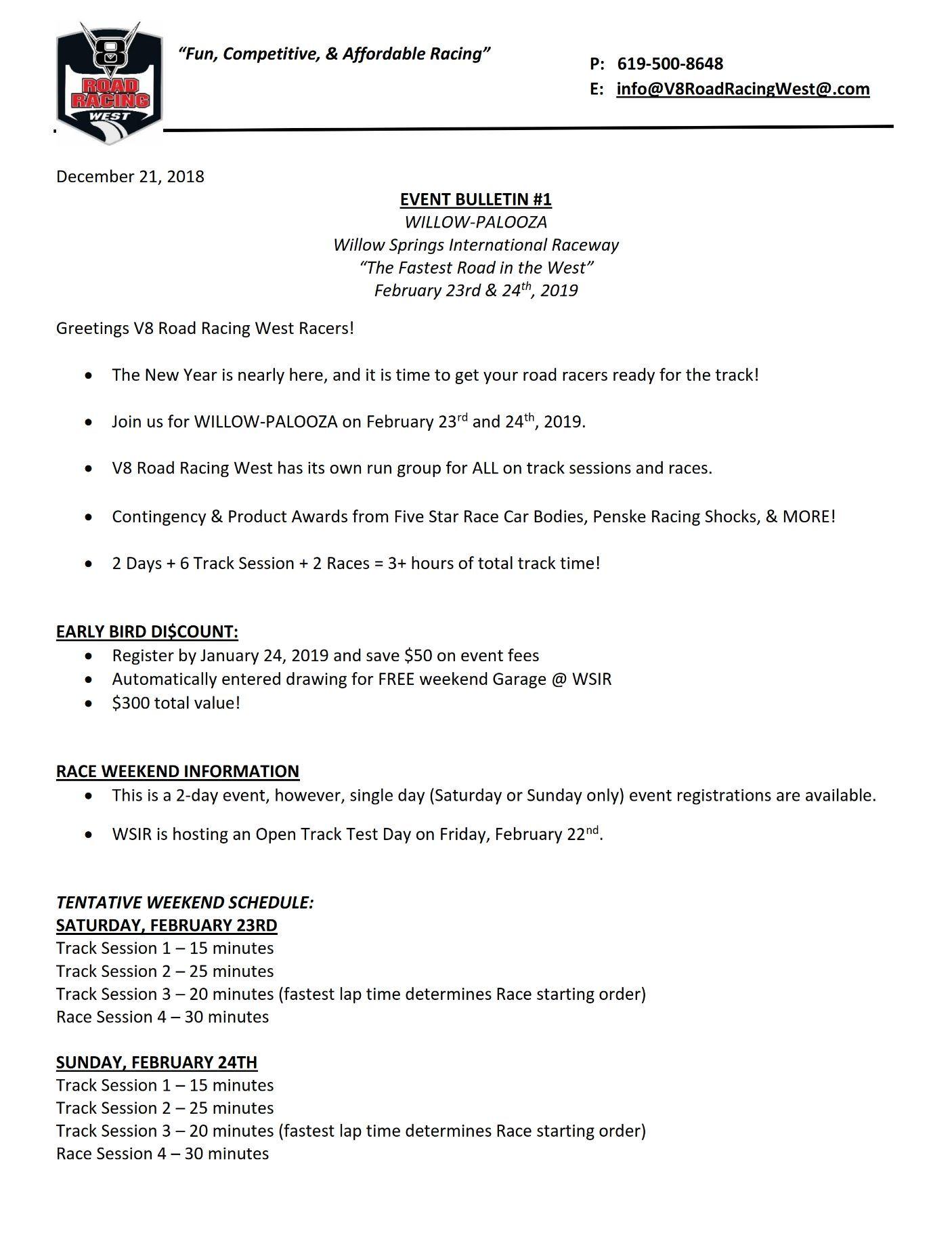 WILLOW-PALOOZA V8 ROAD RACING WEST - V8RRW info on Feb 23