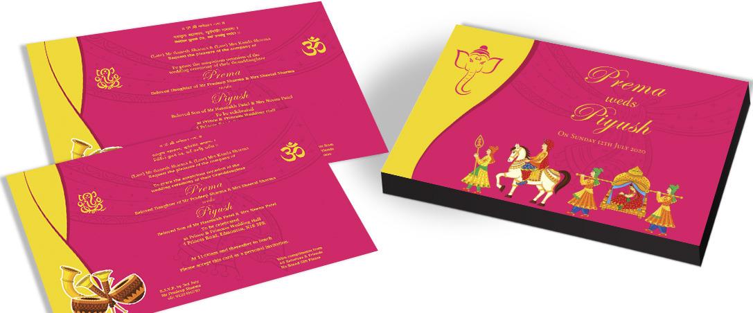 'Baraat' Invitation card for Hindu Marriage